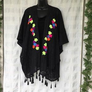 Betsey Johnson black w floral coverup one size